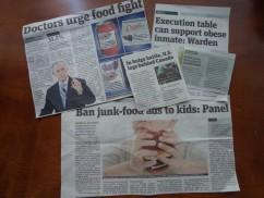 肥満に関する新聞記事の切り抜き