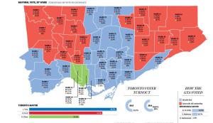 地区別の投票結果。青がトーリー氏が過半数を取った地区、赤がフォード氏、緑がチャオ氏支持の地区。http://news.nationalpost.com/2014/10/27/toronto-election-results-2014-a-ward-by-ward-breakdown-of-the-vote/より抜粋。