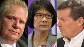 左からフォード氏、チャオ氏、トーリー氏。http://www.cbc.ca/news/canada/toronto/toronto-election-rob-ford-s-legacy-sparks-tense-exchange-at-scarborough-debate-1.2808325より転載。