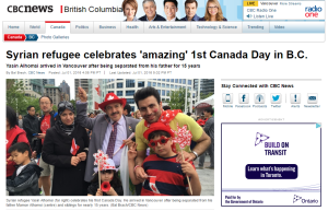 7月1日カナダデーにシリア難民を取り上げる記事http://www.cbc.ca/news/canada/british-columbia/syrian-refugee-celebrates-amazing-1st-canada-day-in-b-c-1.3661590)